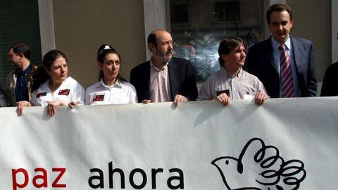 Paro contra la guerra de Irak en Ferraz con Rodríguez Zapatero en el 2003