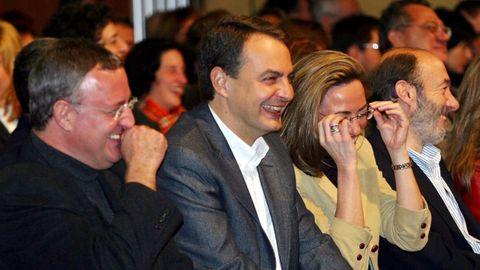 En el 2004 con Caldera, Zapatero y Chacón en la presentación del programa sobre Educación y Cultura del PSOE