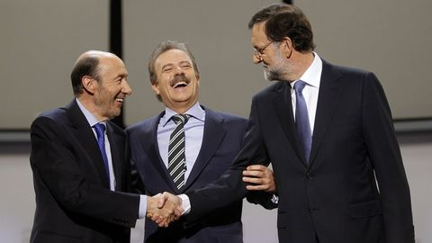 Durante el debate electoral de las elecciones del 2011 junto a Mariano Rajoy y Manuel Campo Vidal