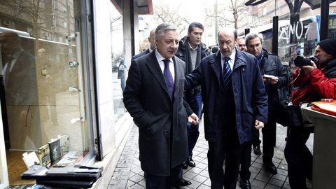 En Madrid, en enero del 2012, llegando a la capilla ardiente de Manuel Fraga