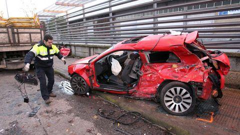 Imagen del accidente mortal que el motorista ahora juzgado protagonizó en el 2012 en las inmediaciones de Citröen