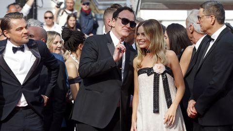 Quentin Tarantino, Leonardo DiCaprio y Margot Robbie