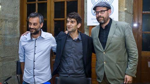 Xulio Ferreiro, Jorge Suárez y Martiño Noriega en una imagen de archivo