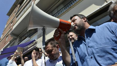 Matteo Salvini  participa este miércoles en un acto electoral en Ascoli Piceno