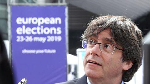 Carles Puigdemont, en el exterior de la sede del Parlamento Europeo en Bruselas, el pasado mayo