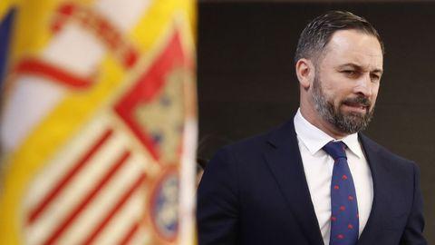 Santiago Abascal ofreció este jueves una rueda de prensa en el Congreso de los Diputados