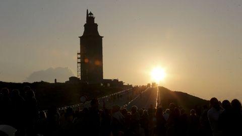 Puesta de sol en la Torre de Hércules.