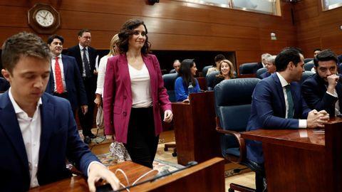 La candidata del PP a la presidencia de la Comunidad de Madrid, Isabel Díaza Ayuso, en el pleno de este miércoles
