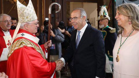 El alcalde de Santiago, Xosé Sánchez Bugallo, durante la Ofrenda al Apóstol esta mañana en San Martín Pinario