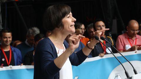 Manifestación del BNG en Santiago con motivo del Día de Galicia. En la imagen, su portavoz nacional, Ana Pontón.