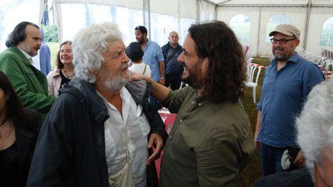 Antón Sáncez, Xosé Manuel Beiras y Martiño Noriega en el acto de Anova.
