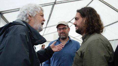 Antón Sánchez, Martiño Noriega e Xosé Manuel Beiras en el acto de Anova.