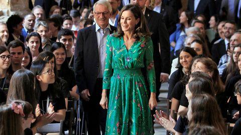 La reina Letizia asistió hoy a la lección magistral que el director de orquesta Aarón Zapico