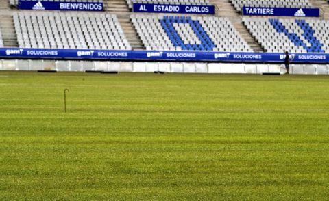 El césped del Carlos Tartiere recién colocado