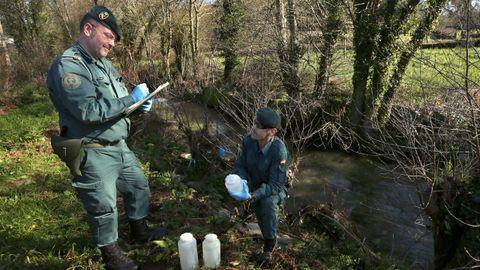 Agentes del Seprona tomando muestras del agua de un río en Barbanza