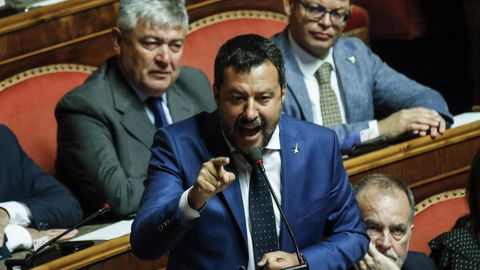 El líder de la Liga y ministro del Interior, Matteo Salvini, ayer en el Senado italiano