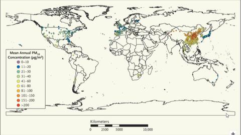 Distribución de las ciudades con datos sobre PM