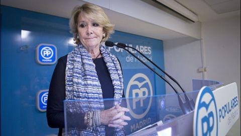 Esperanza Aguirre dimitió de la presidencia del PP de Madrid el 14 de febrero del 2016 por «responsabilidad política», aunque, dijo, no tenía «ninguna responsabilidad material», ni podía «estar encausada en nada»