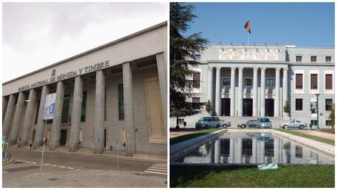A la izquierda, la Fabrica de Moneda y Timbre; a la derecha, los exteriores de la ficción que, en realidad se corresponden con el Consejo Superior de Investigaciones Científicas.