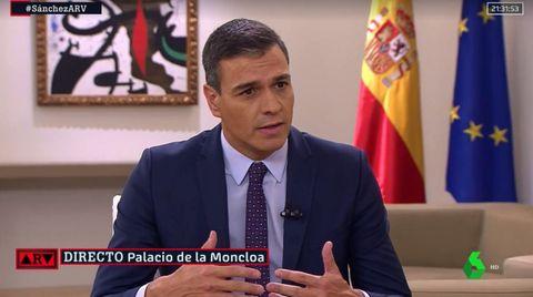 Pedro Sánchez, durante la entrevista con La Sexta en la Moncloa