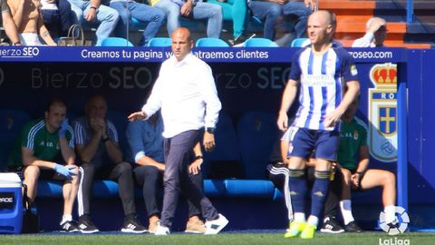 Javi Rozada durante el Ponferradina-Real Oviedo