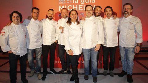 Cocineros gallegos que fueron premiados en la gala de la Guía Michelin del 2015, que se celebró en Santiago
