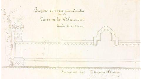 Un proyecto de 1914. La estructura que puede verse junto al quiosco de la música fue proyectada a principios del siglo XX por el arquitecto municipal Fernández Rangel. En la imagen, detalle del proyecto