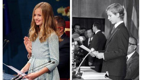 Combo de fotografías de la princesa Leonor, durante su primer discurso en la ceremonia de entrega de los Premios Princesa de Asturias 2019,  y de su padre, el entonces Príncipe de Asturias Felipe de Borbón, durante su primer discurso en la entrega de los Premios Príncipe de Asturias de 1981