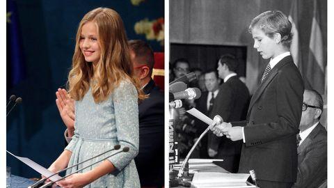 Combo de fotografías de la princesa Leonor, durante su primer discurso en la ceremonia de entrega de los Premios Princesa de Asturias 2019, este viernes, y de su padre, el entonces Príncipe de Asturias Felipe de Borbón, durante su primer discurso en la entrega de los Premios Príncipe de Asturias el 31 de octubre de 1981.