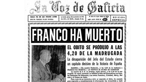 Portada de La Voz del día 20 de noviembre de 1975