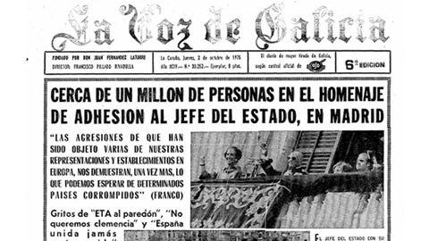 Portada de La Voz del día 1 de octubre de 1975