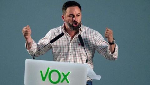 El líder de Vox, Santiago Abascal durante un acto electoral