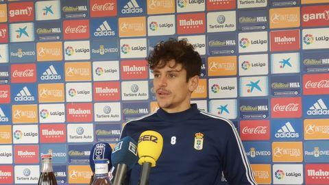 Marco Sangalli en la sala de prensa de El Requexón