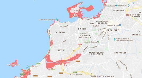Las señaladas en rojo serían las zonas «inundables» de Vigo en el año 2050. El agua podría llegar a las inmediaciones de la fábrica de Citroën