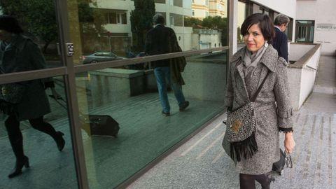 La jueza Pilar de Lara, en noviembre del 2019, entrando en los juzgados de Lugo
