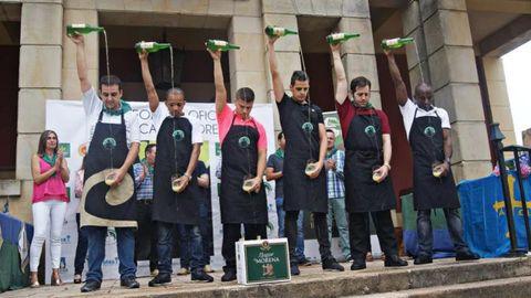 De izquierda a derecha, Pablo Álvarez, Wilkin Aquiles, Jeison Franco, Jonathan Trabanco, Saúl Moro y Salvador Ondó. /LOCAPORLASIDRA.COM