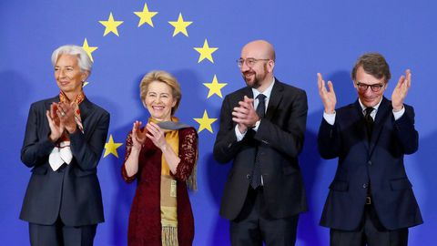 Los presidentes del Banco Central Europeo, Christine Lagarde; de la Comisión Europea, Ursula von der Leyen; del Consejo Europeo, Charles Michel; y del Parlamento Europeo, David Sassoli