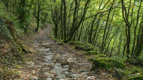 El camino conserva su empedrado tradicional en el último tramo