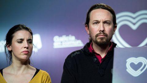 Irene Montero y Pablo Iglesias, en un acto de Podemos