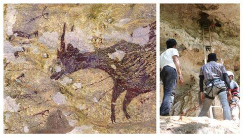 A la izquierda, el anoa, especie de búfalo pequeño típico de las islas Célebes, protagoniza una de las pinturas. A la derecha, el equipo científico, accediendo a la cueva Leang Bulu' Sipong 4