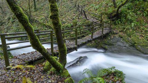 Una pasarela de madera permite salvar el cauce del Selmo por debajo de la cascada