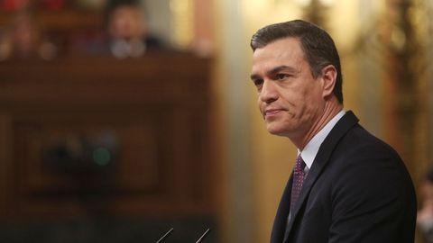 «No se va romper España ni la Constitución. Lo que se va a romper es el bloqueo a un Gobierno progresista», han sido las primeras palabras de Sánchez en su discurso en el pleno de investidura