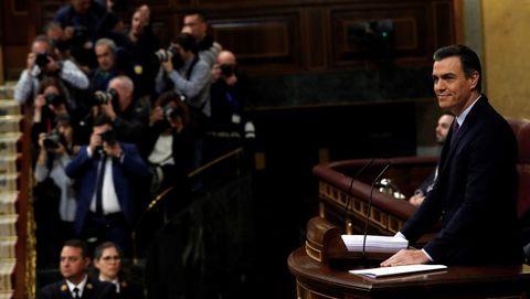 Sánchez, en el estrado durante su discurso