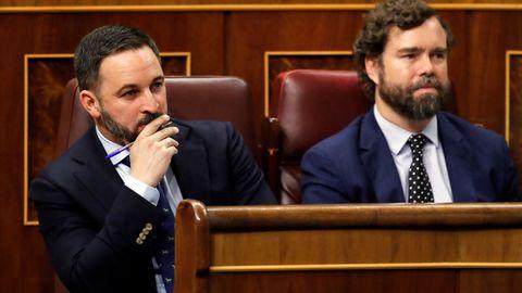 El presidente de Vox, Santiago Abascal, y el portavoz de su partido, Iván Espinosa de los Monteros.