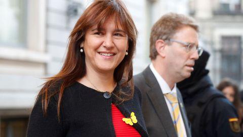 La portavoz de JxCat, Laura Borrásm a su llegada hoy al Congreso de los Diputados.