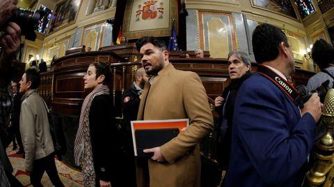 El diputado de ERC, Gabriel Rufián, a su llegada hoy al Congreso de los Diputados.
