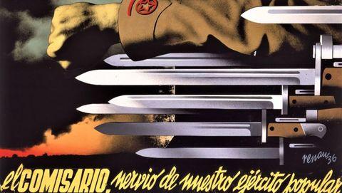 Mítico cartel realizado en 1936 por Renau para el Partido Comunista, una imagen que ilustra las páginas del libro de Andrés Trapiello «La armas y las letras», ensayo que en el 2019 celebró sus 25 años de vida con una reedición ampliada