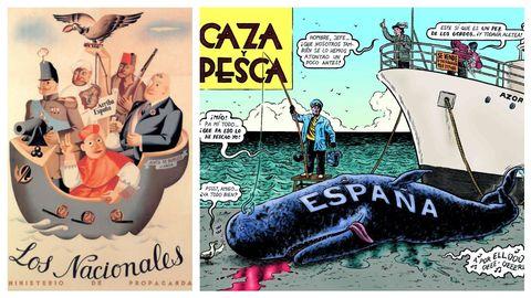 A la izquierda, cartel «Los nacionales», de Juan Antonio Morales (la imagen ilustra el ensayo de Trapiello). A la derecha, ilustración de Miguel Brieva para el «Diccionario del franquismo» de Vázquez Montalbán