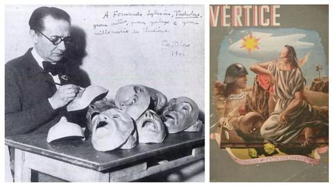 A la izquierda, Castelao pintando máscaras en su exilio argentino, en 1941, para el montaje teatral de «Os vellos non deben de namorarse»; a la derecha, portada de un número extraordinario de la revista de la Falange «Vértice»