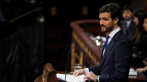 Pablo Casado, líder del PP, durante su intervención